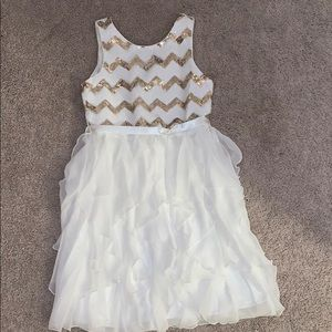 Girls White and Gold Dress